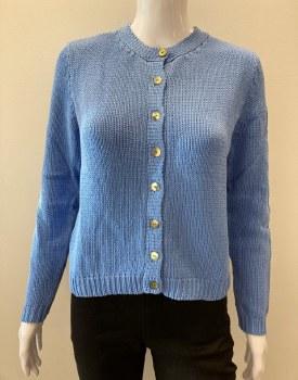 River KN1156 Cotton Knit Cropped Cardigan L Blue