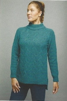 River Cable Knit Sweater L Green