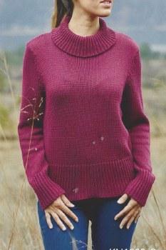 River Turtleneck Sweater KN1223 L Burgundy