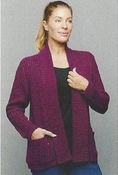 River KN975 Open Cardigan w/Pockets L Purple