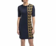 Biana 822 Janie Dress in Navy & Gold XS Navy
