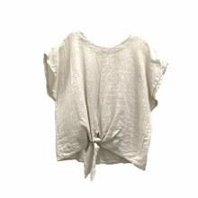 Charlie B C4271 Linen Tie Front Blouse S Natural