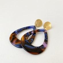 Caracol Drop Resin Earrings 2435-BLU-G