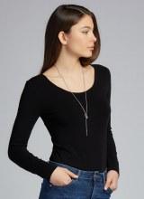 C'est Moi CEBT1202 Bamboo Long Sleeve Scoop Neck Top O/S Black