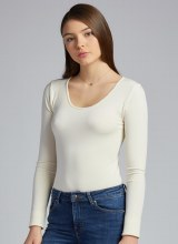 C'est Moi CEBT1202 Bamboo Long Sleeve Scoop Neck Top O/S Ivory