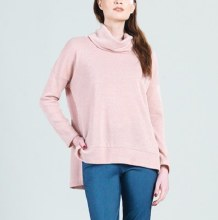 Clara Sunwoo T96W Waffle Knit Cowl Turtleneck Hi-Low Sweater Top L Blush