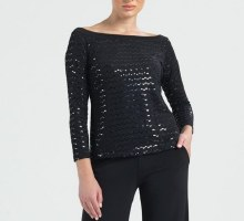 Clara Sunwoo T77S Shimmer Sequin Top  M Black