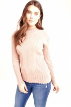 Coco Y Club 192-5006  Ribbed Mock Turtleneck Sweater S Heather Pink