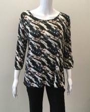 Cubism Button Back Shirt 379-13582 Button Back Shirt XS Black Print
