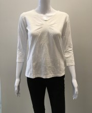 Cut Loose 3/4 Sleeve Tuck Front Tee XS White
