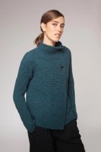 Fisherman Out of Ireland FSQ20A Two-Button Cardigan XS Turquoise/Charcoal
