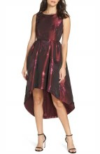 Forest Lily FL213 Printed Metalic Jacquard Dress 4 Wine