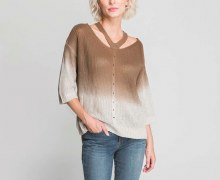 Gabby Isabella Ombre Sweater S Brown/Ecru