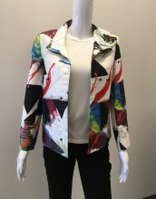 Grace Chuang Short Pleated Jacket XS White Print