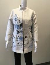 Grace Chuang Mandarin Collar Long Jacket XS Silver