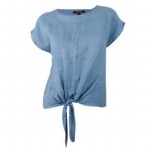 Charlie B C4271 Linen Tie Front Blouse S Denim