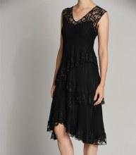 Komarov Sleeveless Tiered Dress L Black