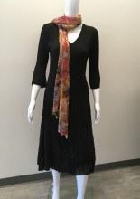 Lindi D8191 Maxi Pleat Dress w/Asymmetrical Hem S Black
