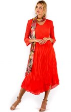 Lindi D8191 Maxi Pleat Dress w/Asymmetrical Hem S Scarlet