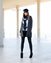 Marble 5925-105 Ribbed Pocket Open Cardi L Grey