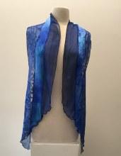 Silk Collage Angle Cut Scarf Maria Testa Blue