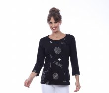 Parsley & Sage 20T63C20 Vivian Embroidered Knit Top S Black