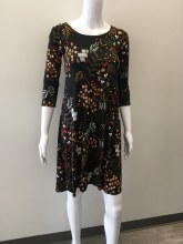 Salaam 3/4 Sleeve Lexi Dress XS Black Print