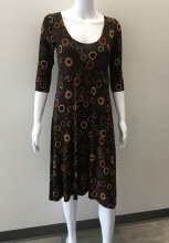 Salaam 3/4 Sleeve Mary Dress XS Black Print