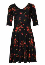 Salaam 3/4 Slv Marilyn Dress XS Black Print