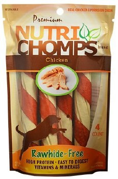 Premium Nutri Chomps Chicken Twist with Flavor Wrap Dog Treats 4 Count