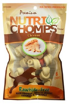 Premium Nutri Chomps Mini Chicken Knot with Milk Wrap Dog Treats 8 count