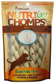 Premium Nutri Chomps 6 Inch Milk Flavor Braided Dog Treats 4 count