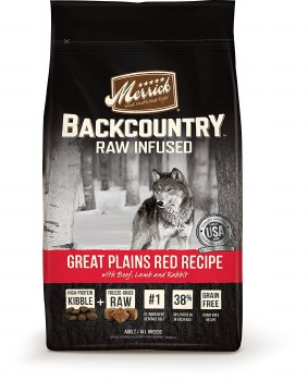 Merrick Backcountry Raw Infused Grain Free Great Plains Red Recipe With Beef Lamb and Rabbit Dry Dog Food 22lb