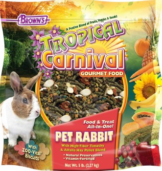 Browns Tropical Carnival Pet Rabbit Food And Treat All In One 5lb