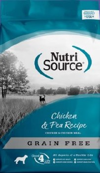 Nutrisource Grain Free Chicken and Pea Formula with Chicken Meal Protein Dry Dog Food 30lb