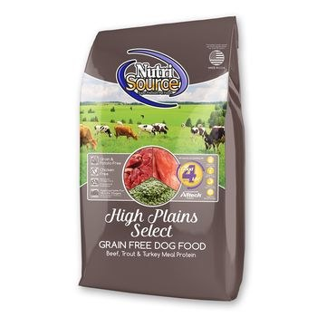 Nutrisource Grain Free High Plains Select Beef Trout and Turkey Meal Protein Dry Dog Food 15lb
