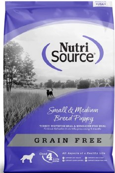 Nutrisource Grain Free Small & Medium Breed Puppy Turkey Meal and Whitefish Meal Protein Dry Dog Food 30lb