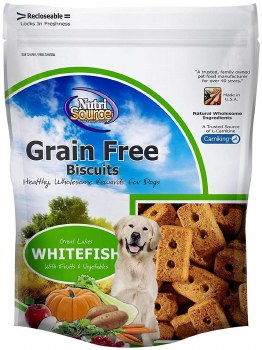 Nutrisource Crunchy Grain Free Great Lakes Whitefish Biscuits With Fruits and Vegetables 14oz