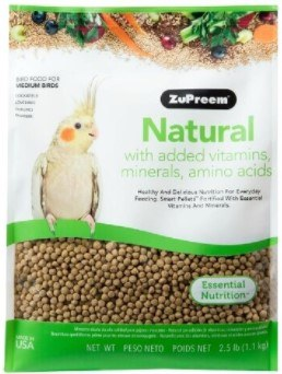 ZuPreem Natural with Vitamins Minerals & Amino Acids Medium Bird Food 2.5lb bag