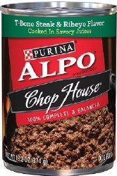 ALPO Chop House T-Bone Steak in Savory Juices Canned Dog Food Case of 12 13.2oz