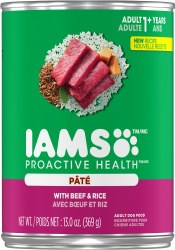 Iams ProActive Health Adult With Beef and Rice Pate Canned Dog Food Case of 12 13oz