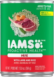 Iams ProActive Health Adult With Lamb and Rice Pate Canned Dog Food Case of 12 13oz