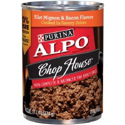ALPO Chop House Filet Mignon and Bacon in Savory Juices Canned Dog Food Case of 12 13.2oz
