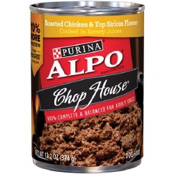 ALPO Chop House Roasted Chicken and Top Sirloin in Savory Juices Canned Dog Food Case of 12 13.2oz