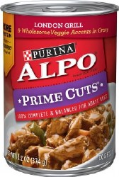 ALPO Prime Cuts London Grill and Wholesome Veggie Accents in Gravy Canned Dog Food Case of 12 13.2oz