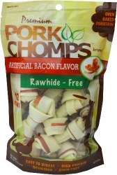 Premium Pork Chomps Bacon Flavor Knotz Dog Treats 2.5 Inch 12 count