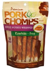 Premium Pork Chomps Sweet Potato Dog Treats Mini 12 count bag