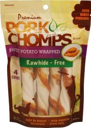 Premium Pork Chomps Sweet Potato Dog Treats Large 4 count