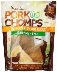 Premium Pork Chomps Roasted Pig Skin Pork Earz 10 Count