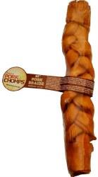 Premium Pork Chomps Roasted Pork Skin Braided Dog Treat 10 Inch